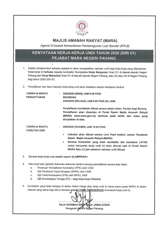 Kenyataan Kerja Kerja Undi Tahun 2020 Siri 01 Pejabat Mara Negeri Pahang Majlis Amanah Rakyat